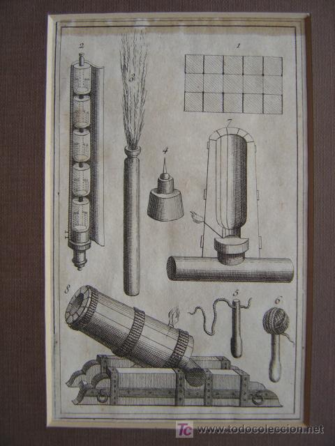 Arte: 7 PRECIOSOS GRABADOS DE PIROTECNIA - AÑOS 1780 - Foto 2 - 133089258
