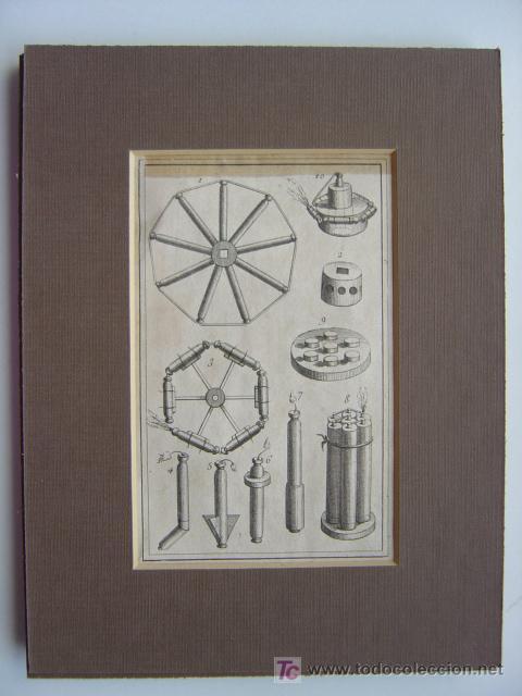Arte: 7 PRECIOSOS GRABADOS DE PIROTECNIA - AÑOS 1780 - Foto 5 - 133089258