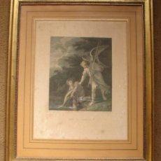 Arte: TOBIAS Y EL ANGEL, GRABADO DE DEBRET SOBRE UN OLEO DE SALVATORE ROSA ( 1615+1673). Lote 27491194