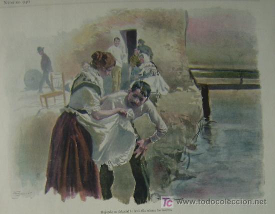 MOJANDO SU DELANTAL LE LAVO ELLA MISMA LOS MORROS (EL MOLINO, CUADRO DE COSTUMBRES GALLEGAS GALICIA) (Arte - Grabados - Modernos siglo XIX)