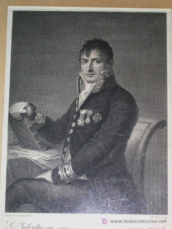 GRABADO HISTORICO POR G. ESTEVE DEL GENERAL PASTOR. CON LEYENDA.ENVÍO PAGADO. (Arte - Grabados - Modernos siglo XIX)