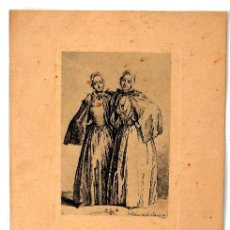 Arte: DOS CAMPESINAS - GRABADO FDO. D . CHODOWKI. VIV. DEL & FEC 1758 - CH. XXIV. 3. Lote 26626684