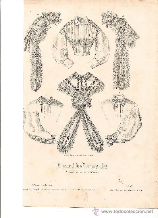 GRABADO XIX .MODA JOURNAL DES DEMOISELLES (Arte - Grabados - Modernos siglo XIX)