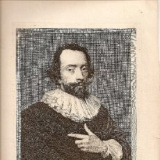 Arte: GRABADO XVII.DIBUJO DE VAN DYCK DEL PINTOR ANTHONIUS VAN OPSTAL,GRABADO POR JACOBUS DE MAN.. Lote 27617984
