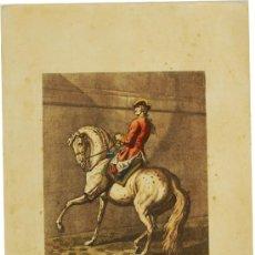 Arte: GRABADO AL AGUAFUERTE COLOREADO O ILUMINADO - PASSAGER A LA MURALLE À GAUCHE - S. XIX. Lote 18079495