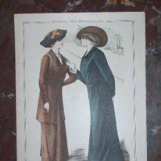 Arte: GRABADO MODA JOURNAL DES DEMOISELLES FEBRERO 1910 DI. BERNARD,IMP.FALLORINI &CRESPIN FOT.REUTLINGER. Lote 26121594