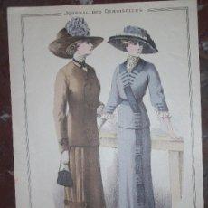 Arte: GRABADO MODA JOURNAL DES DEMOISELLES AGOSTO 1910 .DIRECTOR ALAIN THIERY,IMP.FALLORINI&CRESPIN. Lote 26121595