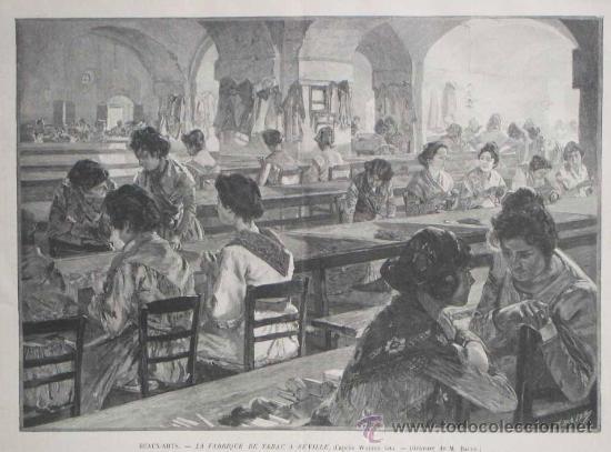 Grabado sevilla mujeres en la fabrica de taba comprar for La fabrica del mueble sevilla