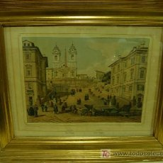 Arte: GRABADO CON MARCO DORADO ORIGINAL. ETATS ROMAINS. Lote 26902898