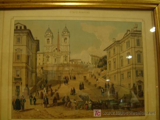 Arte: GRABADO CON MARCO DORADO ORIGINAL. ETATS ROMAINS - Foto 2 - 26902898