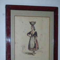 Arte: TRAJES DE ESPAÑA (LA VASCUENCE)GRABADO XIX FRANCES ILUMINADO LA BASQUAISE. Lote 26518760