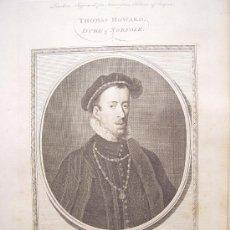 Arte: 'THOMAS HOWARD DUKE OF NORFOLK' GRABÓ GOLDAR(OXFORD 1729-LONDRES 1795)SIGUIENDO OBRA DE ANTONIO MORO. Lote 24537200