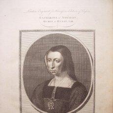 Arte: 'CATHARINA DE ARAGON,QUEEN OF HENRY VIII'GRABÓ GOLDAR(OXFORD,1729-LONDRES,1795)SEGUN OBRA DE HOLBEIN. Lote 24537204