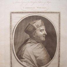 Arte: 'CARDINAL WOLSEY' GRABADO POR JOHN GOLDAR (OXFORD, 1729-LONDRES, 1795). Lote 24537207