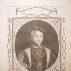 Arte: 'EDWARD VI,KING OF ENGLAND&FRANCE AND IRELAND'GRABÓ JOHN GOLDAR(OXFORD1729-LONDRES1795)SEGUN HOLBEIN. Lote 24563717