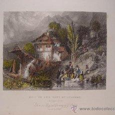 Arte: SUIZA. 'MILL ON THE LAKE OF LUNGERN'.GRABÓ A.HENRY PAYNE (1812-1902) SEGÚN OBRA DE G. BALMES. Lote 27231530