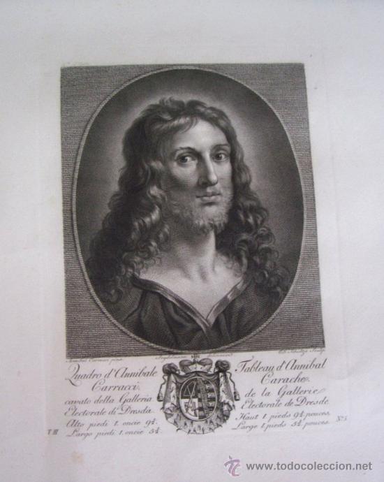 GRABADO SIGLO XVIII - C. 1795 - GALERÍA REAL DE DRESDE - LA TÊTE DU SAUVEUR - ENVÍO GRATIS (Arte - Grabados - Antiguos hasta el siglo XVIII)