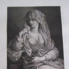 Arte: GRABADO SIGLO XVIII - C. 1795 - GALERÍA REAL DE DRESDE - PORTRAIT D'UNE JEUNE FEMME - ENVÍO GRATIS. Lote 15492314