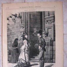 Arte: HOGAÑO, POR PELLICER. A LA PUERTA DE CALATRAVAS. GRABADO 1877. Lote 16324393