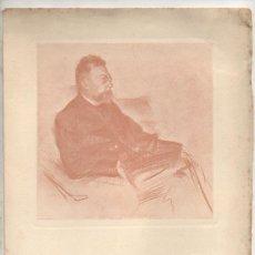 Arte: ÀNGEL GUIMERÀ. RETRATO DE RAMON CASAS. SELLO SECO DE PEL & PLOMA Y THOMAS. 29 X 21 CM.. Lote 16898322