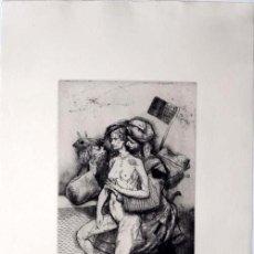 Arte: MIGUEL CONDÉ HUSAR CON MUJERES GRABADO OFIGINAL FIRMADO A LÁPIZ NUMERADO FECHADO EDIC 50 EJEMPLARES.. Lote 166133666