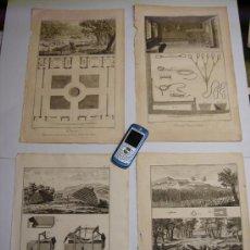 Arte: 40 CM SIGLO XVIII ORIGINALES - LOTE DE 4 GRABADOS CINEGETICOS CAZA CON TRAMPA TRAMPEO. Lote 25218726