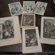 Kunst - LOTE DE 7 BELLOS GRABADOS AL COBRE DE TEMA COSTUMBRISTA, S XVIII - 17889629