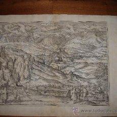 Arte: GRABADO DE ALHAMA,GRANADA, 1575, BRAUN Y HOGENBERG, SOBERBIO ESTADO, GRAN TAMAÑO. Lote 27462295