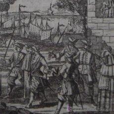Arte: GRABADO DEL ATAQUE Y TOMA DE SÈTE (FRANCIA) POR LOS INGLESES, 1740. Lote 12475265