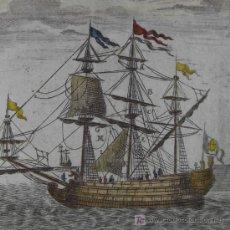 """Arte: GRABADO """"BARCO DE VELA"""" DE MALLET, 1719. Lote 18569976"""