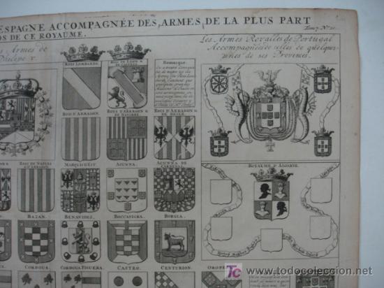 Arte: CARTA HERÁLDICA DE LOS REYES DE ESPAÑA Y ARMAS DE LA MAYOR PARTE DE LOS GRANDES DEL REINO. - Foto 3 - 19037177