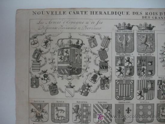 Arte: CARTA HERÁLDICA DE LOS REYES DE ESPAÑA Y ARMAS DE LA MAYOR PARTE DE LOS GRANDES DEL REINO. - Foto 2 - 19037177