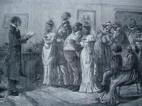 COSTUMBRES DE LOS NEGROS LIBRES AMERICANOS.BODA (Arte - Grabados - Modernos siglo XIX)