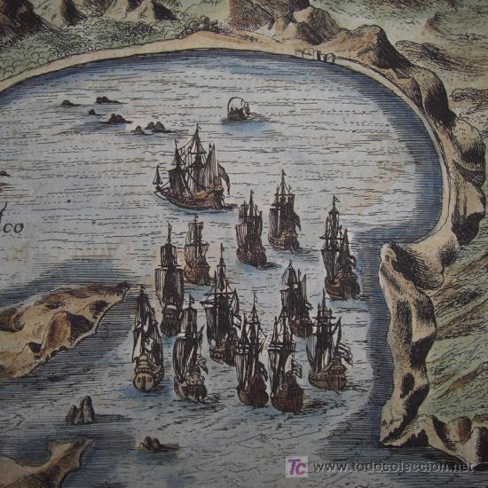 PUERTO Y BAHÍA DE ACAPULCO, MÉXICO, POR THEODOR DE BRY, 1650 (Arte - Grabados - Antiguos hasta el siglo XVIII)