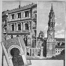 Art: GRABADO DE ZARAGOZA. AÑO 1888. AUTOR P. Y VALOR. ELTEATRO PRINCIPAL, LA SEO, VISTA GENERAL, ETC.. Lote 21014733