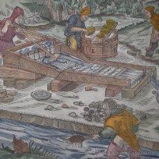 Arte: XILOGRAFÍA DE LAVADO DEL ORO DE AGRÍCOLA, 1557. Lote 21698527