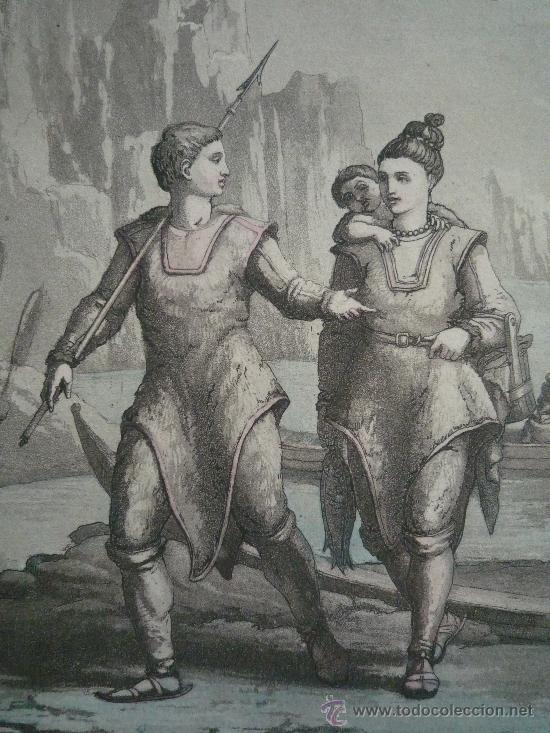 PRECIOSO Y ANTIGUO GRABADO DE GRAN CALIDAD, COLOREADO A MANO, GALLO GALLINA, EXPLORADORES EN EL POLO (Arte - Grabados - Modernos siglo XIX)