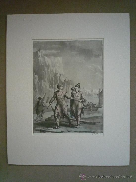 Arte: Precioso y antiguo grabado de gran calidad, coloreado a mano, Gallo Gallina, exploradores en el Polo - Foto 4 - 21888092