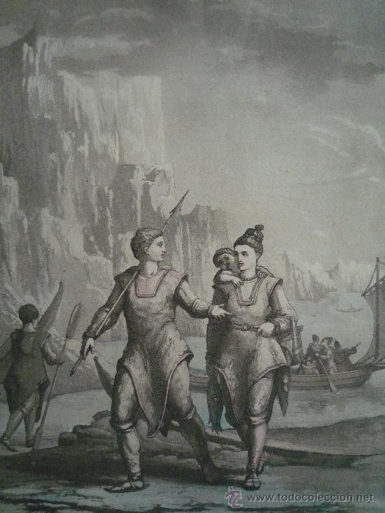 Arte: Precioso y antiguo grabado de gran calidad, coloreado a mano, Gallo Gallina, exploradores en el Polo - Foto 2 - 21888092