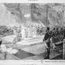 Arte: GRABADO: BAUTIZO DE INFANTA MARIA MERCEDES ISABEL EN LA CAPILLA DEL PALACIO REAL MADRID 1880. Lote 21857717