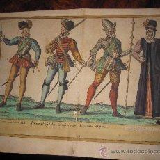 Arte: SIGLO XVI: GRABADO AL AGUAFUERTE COLOREADO A MANO DE LA ÉPOCA: TRIBUM VEL CENTURIONIS HABITUS.... Lote 23021807