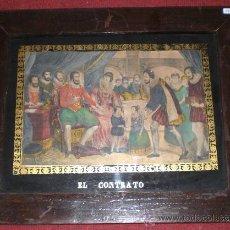 Arte: ANTIGUO GRABADO ISABELINO. S.XIX. ILUMINADO MANO. MARCO DE ÉPOCA.. Lote 26385999