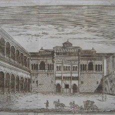 Arte: GRABADO REAL ALCÁZAR DE SEVILLA, ORIGINAL, 1740, ALBRIZZI,. Lote 26332006
