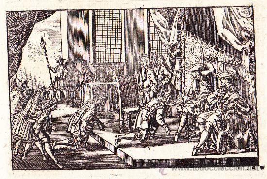GRABADO ALEMÁN DE FELIPE V ANTE LA CORTE DE CASTILLA SIGLO XVIII (Arte - Grabados - Antiguos hasta el siglo XVIII)