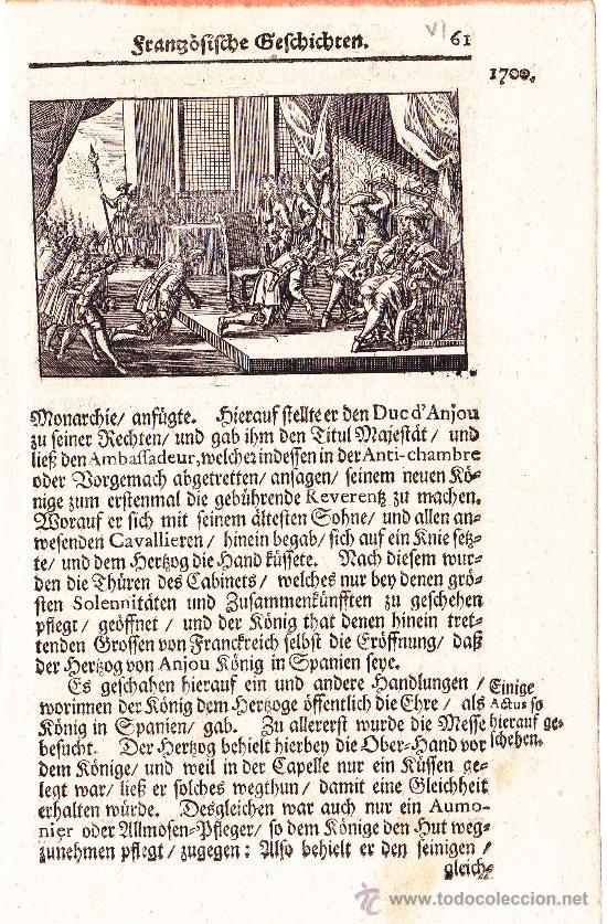 Arte: Grabado alemán de Felipe V ante la Corte de Castilla siglo XVIII - Foto 2 - 24506693
