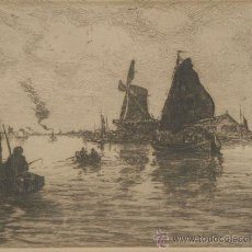 Arte: GRABADO. AGUAFUERTE. MARINA. C 1920. Lote 24578805