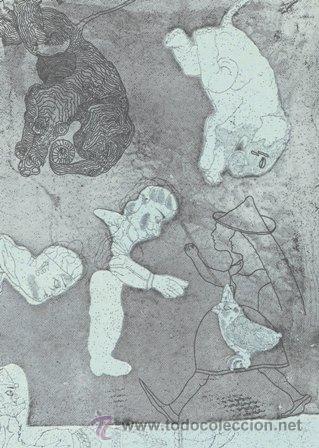 JORGE CASTILLO DOS ELEFANTES CABEZA ABAJO.GRABADO ORIGINAL FECHADO FIRMADO NUMERADO A LÁPIZ 33 /100 (Arte - Grabados - Contemporáneos siglo XX)