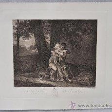Arte: BONITO GRABADO FRANCÉS TITULADO INNOCENCE ET AMOUR. SEGUN VILLERY. 1847. Lote 32936930