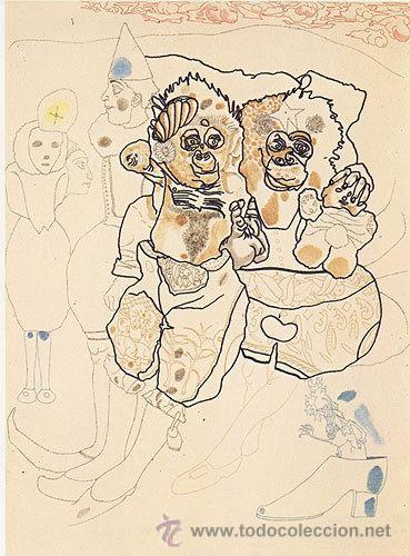 JORGE CASTILLO / DOS MONOS. GRABADO FECHADO, FIRMADO Y NUMERADO A LÁPIZ 69 / 100 (Arte - Grabados - Contemporáneos siglo XX)