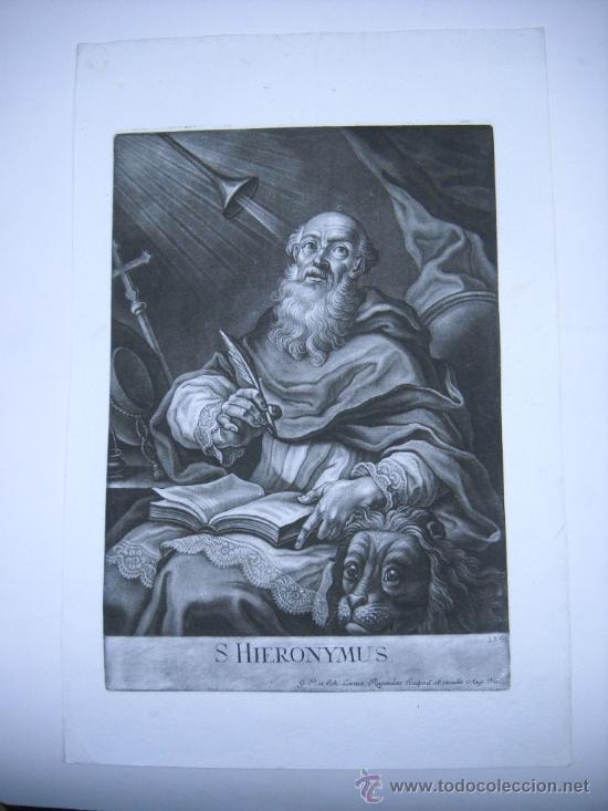 GRABADO S.XVIII S. HIERONYMUS (ST JEROME) J.LORENZ RUGENDAS SCULPSIT ET EXCUDIT AUG. VIND.31X47 (Arte - Grabados - Antiguos hasta el siglo XVIII)